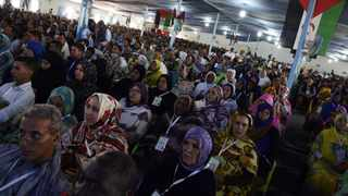 Saharawi delegates take part in the Extraordinary Congress of the Polisario Front (PF)  at the Sahrawi refugee camp of Dakhla. Picture: Farouk Batiche/AFP