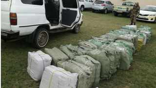 Bales of suspected counterfeit footwear detained at Kosi Bay in November this year. Photo: Supplied/Sars
