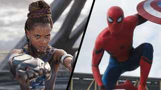 Letitia Wright as Shuri in 'Black Panther' and Tom Holland as Spider-Man in Captian America: Civil War. Picture: Marvel Studios