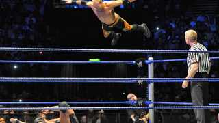 Christian leaps from the top rope hoping to hit Randy Orton at the WWE (World Wrestling Entertainment) World Tour 2011 in Cape Town at the Grand West Grand Arena. Photo: Matthew Jordaan