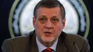 Jan Kubis, the UN special representative in Afghanistan, speaks during a news conference in Kabul.