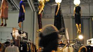 Cape Town - 120303 - The Design Indaba 2012, held at the Cape Town International Convention Centre. Here manaquins dressed by various designers in the Cape Town Fashion Council hang above the expo. Reporter: Michelle Jones. Picture: Candice Chaplin.