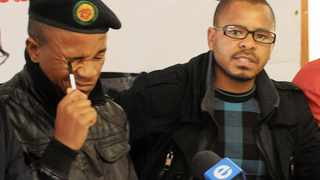 Cape Town 22/08/12 Loyiso Nkohla (pen in eye) and Khoya Yozi of the ANCYL at a press conference re march to be held on monday in the CBD. Story Megan. Pix Jack Lestrade.