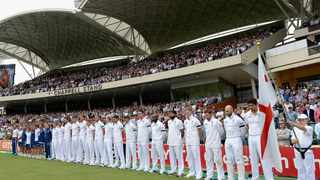 ADELAIDE, AUSTRALIA - DECEMBER 06:  England observe a minutes silence in memory of former South African President Nelson Mandela ahead of day two of the Second Ashes Test Match between Australia and England at Adelaide Oval on December 6, 2013 in Adelaide, Australia.  (Photo by Gareth Copley/Getty Images)