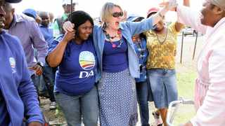 285 21.04.2014 DA leader Helen Zille and Free State Provincial candidate Patricia Kopane in a Rally at Seeisoville stadium in Kroonstad, to campaign for the votes at the area. Picture: Motshwari Mofokeng