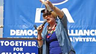 626 21.04.2014 DA leaders Helen Zille speak to the crowd during an election rally in Seeisoville stadium outside Kroonstad in the Free State, On Monday. Picture: Motshwari Mofokeng