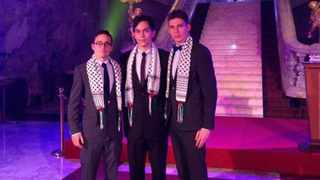 The photo posted to Facebook shows King David Victory Park deputy headboy, Josh Broomberg (R), and two members of the SA National Debating team, wearing Palestinian scarves known as Keffiyehs. Picture: Facebook.com / Saul Mzansi Musker.