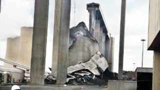 Damage to silos at the Majuba Power Station. Picture: Supplied 021114