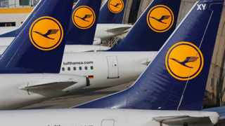 as Lufthansa pilots went on a three-days-strike in Frankfurt, Germany, Wednesday, Aporil 2, 2014. The pilots demand for higher wages while Lufthansa was forced to cancel 3800 flights during the strike.(AP Photo/Michael Probst)