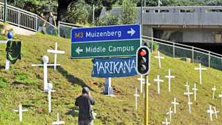 Cape Town 140812-Marikana crosses displayed  near UCT. [Picture Cindy waxa.Reporter Anne/Argus
