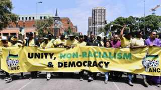 19/02/2016 Some of the ANC leaders and supporters make their way to the Union Buildings during their march for Unity, Non-Racialsm and Democracy. Picture: Phill Magakoe