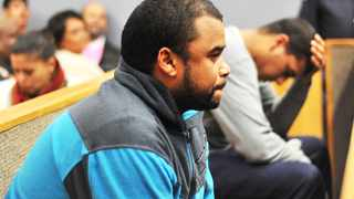 Cape Town-160421-Two Murder accussed  Ronaldo Van Rooyen(in blue)and Tafiq Ibrahim(grey top) and appeared in Bluedowns magistrate on the murder charge of Zarah Hector-Picture by BHEKI RADEBE