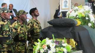 """After nearly thirty years of lying in an unmarked grave where he was buried under guard of apartheid security forces, MK fighter Norman """"Billy Holiday"""" Petersen was reburied yesterday with full military honours by his compatriots, commanders and family members at a heroes acre in his hometown, Paarl. PICTURE: Zenzile Khoisan"""