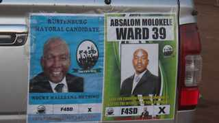 Posters of the Forum 4 Service Delivery's Rustenburg mayoral candidate Malebana Metsing and ward 39 candidate Absalom Molokele. Picture: Thabiso Thakali