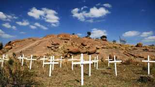 Crosses placed in 2012 for the 34 miners killed in the Marikana shooting in Rustenburg. Picture: EPA