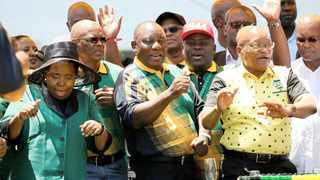ANC president Cyril Ramaphosa dances with former president Jacob Zuma and Nkosazana Dlamini-Zuma during the ANC's 106th anniversary celebrations in East London. File picture: Reuters.