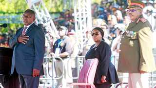President Cyril Ramaphosa, Minister of Defence and Military Veterans Nosiviwe Mapisa-Nqakula and SANDF chief General Solly Shoke during the Armed Forces Day Parade. Picture: Jacques Naude/African News Agency (ANA)