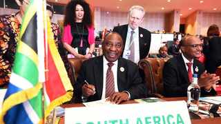 MOMENTOUS: President Cyril Ramaphosa signs the Africa Continental Free Trade Area agreement in Nouakchott.