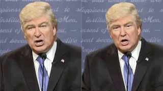 Alec Baldwin's SNL act as Donald Trump was digitally altered with the president's face to create a fake Trump debate performance.Picture: DERPFAKES/YOUTUBE
