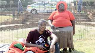 Convicted #FeesMustFall's Bonginkosi Khanyile with his mother Phumzile Khathini spent a night outside the Union Buildings calling on President Cyril Ramaphosa to pardon student activists arrested for the 2015/16 unrest.Picture: Thobile Mathonsi/African News Agency (ANA)