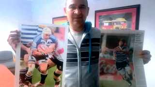 Cheslin Kolbe's father Andrew with posters of his son playing for Western Province. Cheslin, right, in action for the national Sevens side.