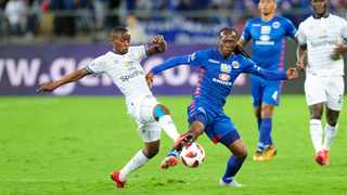 Thabo Nodada of Cape Town City challenges Reneilwe Letsholonyane of SuperSport United during the MTN8 final. Photo: Gerhard Duraan/BackpagePix