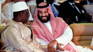 Saudi Crown Prince Mohammed bin Salman with Senegal's President, Macky Sall, at the Future Investment Initiative Forum in Riyadh yesterday.     Reuters