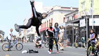 Breakdancer Yasser Booysen shows off his moves. The Open Streets movement took place in Victoria Road, Woodstock on Sunday where people could walk, cycle, skate, play, dance and explore after the road was closed.  Picture: Armand Hough/African News Agency (ANA)