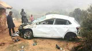 This is what was left of the VW Polo in which two Msinga high school pupils died after the driver, a teacher, lost control of the vehicle.