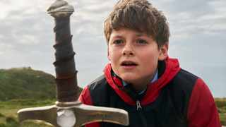 Louis Ashbourne Serkis, 14, had to do strenuous physical training to prepare for using a sword in The Kid Who Would Be King.  Picture: Kerry Brown 20th Century Fox Film
