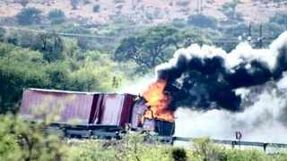 A truck transporting beer was apparently set alight on the N14 near Olifantshoek and looted of its cargo yesterday morning. Picture: Social media.