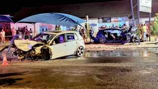 Two Golf GTIs (one white and one blue) were involved in a head-on collision in Schmidtsdrift Road on Saturday evening. Picture: Supplied