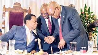 King Goodwill Zwelithini, KZN Premier Willies Mchunu and former president Jacob Zuma share a moment ahead of the KZN State of the Province Address. Picture: African News Agency/ANA