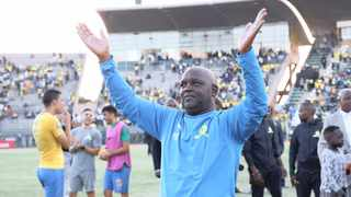 Mamelodi Sundowns coach Pitso Mosimane celebrates with fans after their 5-0 thrashing of Al Ahly in a Champions League first leg quarter-final at Lucas Moripe Stadium in Atteridgeville, Pretoria, a week ago.  Photo: Gavin Barker/BackpagePix