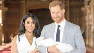 Britain's Prince Harry and Meghan, Duchess of Sussex, with their newborn son. Picture: AP