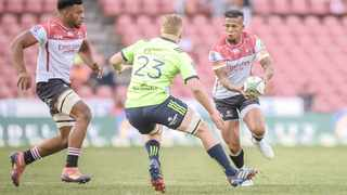 The Highlanders' Waisake Naholo prepares to tackle the Lions' Elton Jantjies during their Super Rugby match at Ellis Park Stadium, Johannesburg, on Saturday.  Photo: Christiaan Kotze/BackpagePix