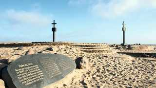 The two replica padraos erected at Cape Cross are a popular tourist attraction.     travelnewsnamibia.com