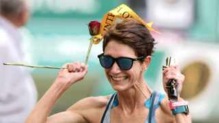 Ann Ashworth after her win at the Comrades last year in Durban. Photo: Chris Ricco/BackpagePix