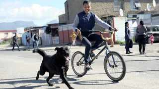 Kiano Jones plays with his dog Roger in Manenberg. Cape Flats residents have expressed mixed feelings over the deployment of the SANDF to the area in a bid to curb high levels of crime. Picture: Ayanda Ndamane/African News Agency (ANA)