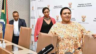MINISTER of Agriculture, Land Reform and Rural Development Thoko Didiza, right, together with panel members at a media briefing to unpack the contents of the report of the Presidential Expert Advisory Panel on Land Reform and Agriculture in Pretoria yesterday. The report makes recommendations that will assist in accelerating the redress of historical land distribution imbalances.     GCIS