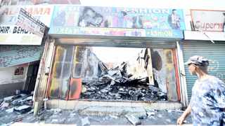Foreign-owned shops were burnt in Pretoria CBD. Picture: African News Agency (ANA)