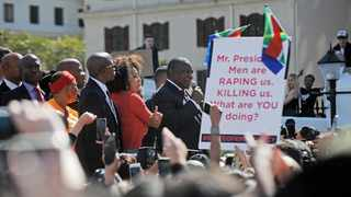President Cyril Ramaphosa addresses thousands of protesters outside Parliament who called for action to end the scourge of violence against women in SA. Picture: Armand Hough/African News Agency (ANA)