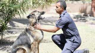 A file picture of Sergeant Clinton Odayar with his canine partner, Dante. A total of 71 dogs have died at the dog training and breeding centre, based in Roodeplaat north of the Pretoria. Leon Lestrade  African News Agency (ANA)