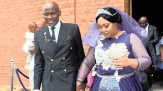 Ndebele King Makhosonke Mabena II and Lesotho Princess Sekhothali Seeiso leaving the church after their white wedding in Lesotho last week. Picture: Supplied