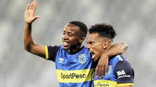 Kermit Erasmus of Cape Town City, right, celebrates his second goal with teammate Thabo Nodada during their PSL match against Polokwane City. Photo: Ryan Wilkisky BackpagePix
