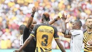 Eric Mathoho receives his marching orders for shoving Abel Mabaso as Ntsikelelo Nyauza applauds the referee's decision at FNB Stadium on Saturday. Photo: BackpagePix