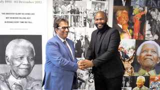 Independent Media executive chairman Dr Iqbal Survé congratulated Siyavuya Mzantsi on his appointment as Cape Times editor. Picture: Ian Landsberg/African News Agency (ANA)