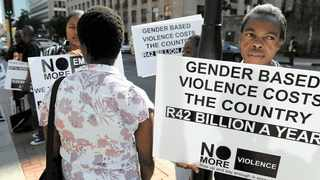 ANTI-gender-based violence activists from various organisations protested outside the Johannesburg Magistrate's Court during the bail application of Patrick Wisani, who was charged with murdering his girlfriend, Nosipho Mandaleleni. File Picture: Chris Collingridge