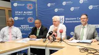 Local Government head of department Graham Paulse, Agriculture MEC Ivan Meyer, Premier Alan Winde and Local Government MEC Anton Bredell discuss solutions for load shedding. Picture: Mwangi Githahu/Cape Argus