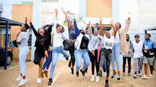 2019 Matric students from Curtis Nkondo School of Specialisation jumping in excitement after being named one of the best performing schools in Soweto. Picture: Nokuthula Mbatha/African News Agency(ANA)